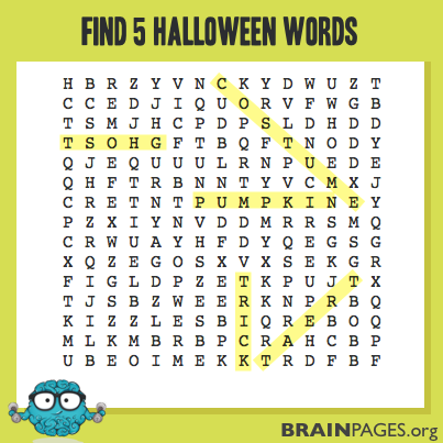 Halloween Word Search Solution