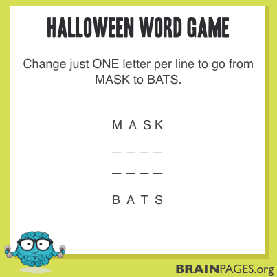 Word Games #1 - Halloween - Brain Pages