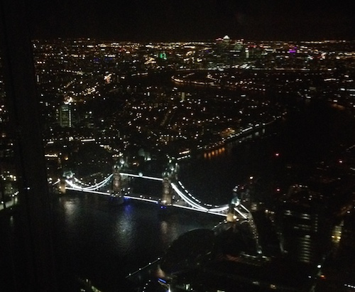 Night View of Tower Bridge from the Top of The Shard. London, England.